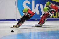SHORTTRACK: DORDRECHT: Sportboulevard Dordrecht, 24-01-2015, ISU EK Shorttrack Ranking Races, Torsten KRÖGER (GER | #30), Roberts ZVEJNIEKS (LAT | #46), ©foto Martin de Jong