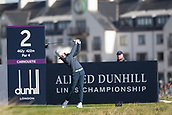 6th October 2017, Carnoustie Golf Links, Carnoustie, Scotland; Alfred Dunhill Links Championship, second round; England's Tommy Fleetwood tees off on the second hole on the Championship Links, Carnoustie during the second round at the Alfred Dunhill Links Championship