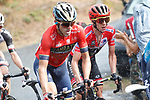 Ion Izagirre (ESP) Bahrain-Merida and race leader Simon Yates (GBR) Mitchelton-Scott during Stage 11 of the La Vuelta 2018, running 207.8km from Mombuey to Ribeira Sacra. Luintra, Spain. 5th September 2018.<br /> Picture: Unipublic/Photogomezsport | Cyclefile<br /> <br /> <br /> All photos usage must carry mandatory copyright credit (&copy; Cyclefile | Unipublic/Photogomezsport)