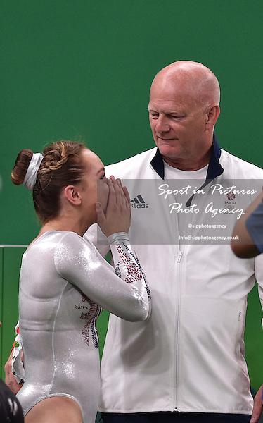 Amy Tinkler (GBR) cries with her coach. Womens individual floor exercise. Artistic Gymnastics. Rio Olympic arena. Olympic Park. Rio de Janeiro. Brazil. 16/08/2016. ~ MANDATORY CREDIT Garry Bowden/SIPPA - NO UNAUTHORISED USE - +44 7837 394578