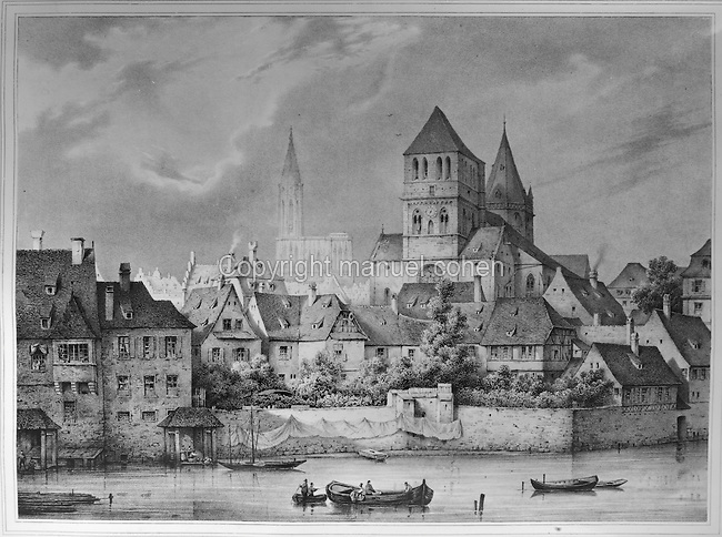View of the town of Strasbourg, France, with the Saint Thomas Church, completed 1521 in late Gothic style, engraving, c. 1850. Copyright © Collection Particuliere Tropmi / Manuel Cohen