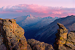 sunset over Longs Peak from Rock Cut on Trail Ridge in Rocky Mountain National Park, Colorado, USA