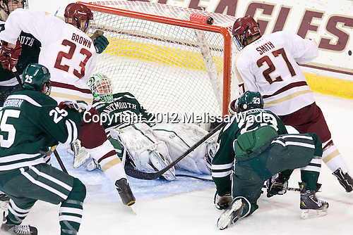 Patrick Brown (BC - 23), Charles Grant (Dartmouth - 30), Ryan Bullock (Dartmouth - 23), Quinn Smith (BC - 27) - The Boston College Eagles defeated the visiting Dartmouth College Big Green 6-3 (EN) on Saturday, November 24, 2012, at Kelley Rink in Conte Forum in Chestnut Hill, Massachusetts.