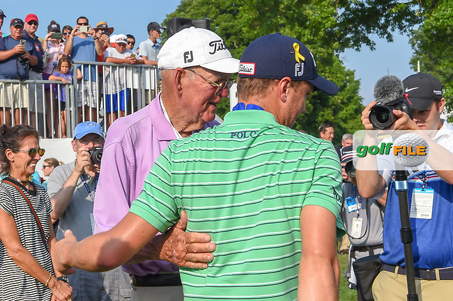 Justin Thomas (USA) is congratulated by his grandfather, who played in this tournament in 1960, following 4th round of the World Golf Championships - Bridgestone Invitational, at the Firestone Country Club, Akron, Ohio. 8/5/2018.<br /> Picture: Golffile | Ken Murray<br /> <br /> <br /> All photo usage must carry mandatory copyright credit (© Golffile | Ken Murray)