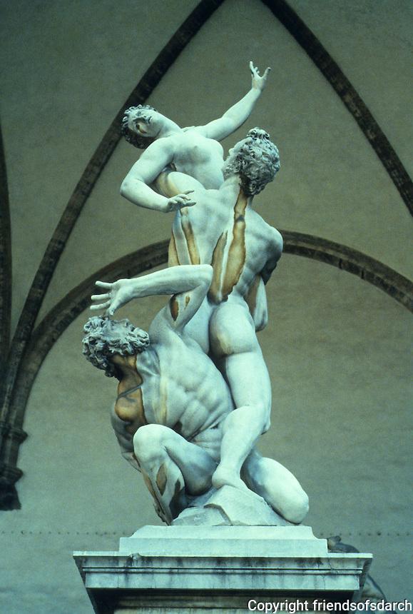 Florence: The Rape of the Sabine, Loggia Bella Signoria.  Sculptor Giovanni Da Bologna, 1583. Photo '83.
