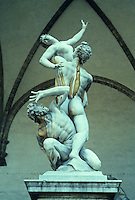Florence: The Rape of the Sabine, Loggia Bella Signoria.  Sculptor Giovanni Da Bologna, 1583. Photo '83.