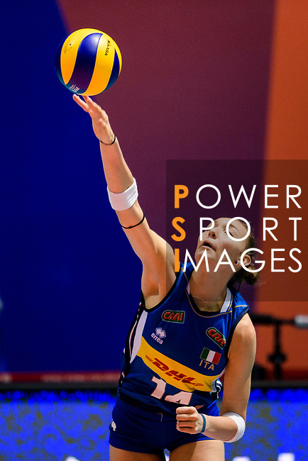 Elena Pietrini of Italy serves the ball during the FIVB Volleyball Nations League Hong Kong match between Japan and Italy on May 29, 2018 in Hong Kong, Hong Kong. Photo by Marcio Rodrigo Machado / Power Sport Images