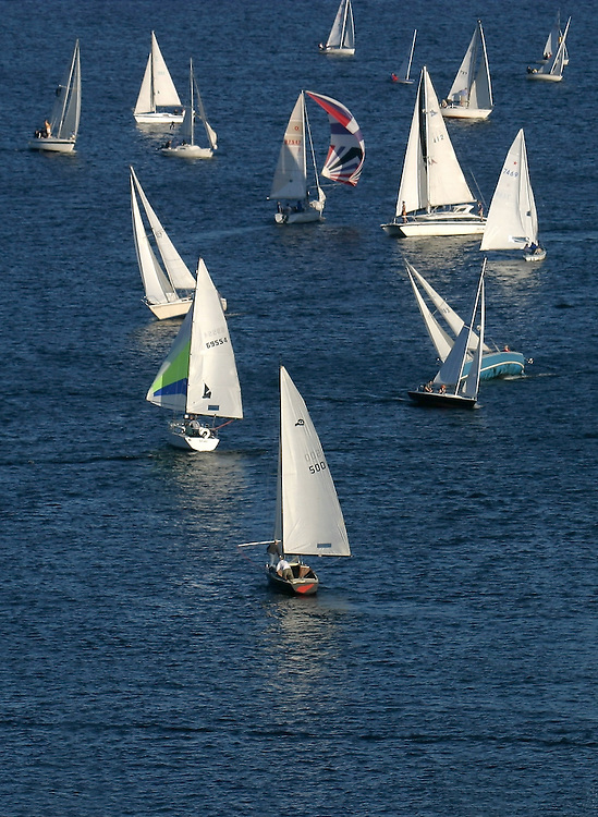 Seattle, Sailboats racing, Lake Union, Weekly Duck Dodge all-class race,  Washington State, Pacific Northwest,.