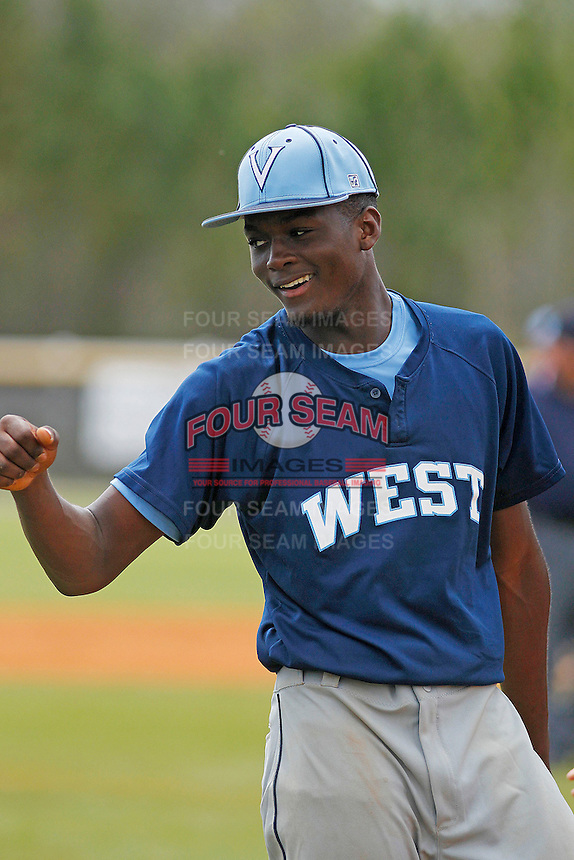 West Columbus Vikings player Eric Jenkins (5) during a game against the Upper Room Christian Royals on the campus of West Brunswick High School on April 7, 2015 in Shallotte, North Carolina. West Columbus defeated Upper Room Christian 13-0. (Robert Gurganus/Four Seam Images)