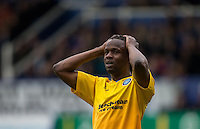 Marcus Bean of Wycombe Wanderers holds his head after going close to goal during the Sky Bet League 2 match between Portsmouth and Wycombe Wanderers at Fratton Park, Portsmouth, England on 23 April 2016. Photo by Andy Rowland.