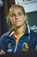 Arena Loire,  Trélazé,  France, 13 April, 2016, Semifinal FedCup, France-Netherlands, Press-conference Dutch team, Arantxa Rus<br /> Photo: Henk Koster/Tennisimages