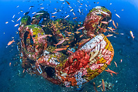 artificail reef, made of used tires, Coral Garden, Tulamben, Bali, Indonesia, Pacific Ocean