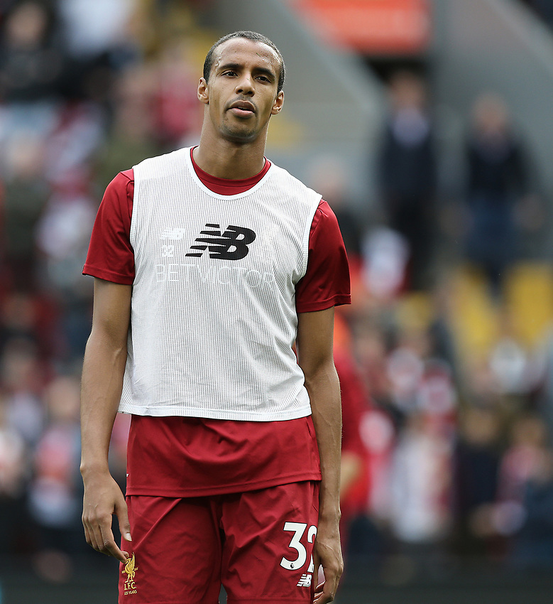 Liverpool's Joel Matip during the pre-match warm-up <br /> <br /> Photographer Rich Linley/CameraSport<br /> <br /> The Premier League - Liverpool v Manchester United - Saturday 14th October 2017 - Anfield - Liverpool<br /> <br /> World Copyright &copy; 2017 CameraSport. All rights reserved. 43 Linden Ave. Countesthorpe. Leicester. England. LE8 5PG - Tel: +44 (0) 116 277 4147 - admin@camerasport.com - www.camerasport.com