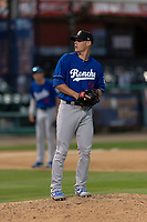 Rancho Cucamonga Quakes relief pitcher Wes Helsabeck (27) during a California League game against the Visalia Rawhide on April 9, 2019 in Visalia, California. Visalia defeated Rancho Cucamonga 8-5. (Zachary Lucy/Four Seam Images)