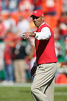 Chiefs Head Coach Herm Edwards walks onto the field before the game with the Seattle Seahawks at Arrowhead Stadium  in Kansas City, Missouri on October 29, 2006. Kansas City won 35-28.