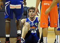 Saints forward Casey Frank gets up after being fouled. NBL - Wellington Saints v Southland Sharks at TSB Bank Arena, Wellington, New Zealand on Friday, 22 April 2011. Photo: Dave Lintott / lintottphoto.co.nz