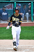 Quintin Berry (19) of the Salt Lake Bees at bat against the El Paso Chihuahuas in Pacific Coast League action at Smith's Ballpark on April 24, 2016 in Salt Lake City, Utah. This was Game 1 of a double-header.  El Paso defeated Salt Lake 7-0. (Stephen Smith/Four Seam Images)