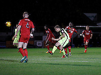 Exeter City's David Wheeler shoots on goal during the Sky Bet League 2 match between Crawley Town and Exeter City at Broadfield Stadium, Crawley, England on 28 February 2017. Photo by Carlton Myrie / PRiME Media Images.