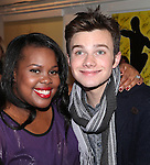 Amber Riley & Chris Colfer (GLEE) backstage at Encores! 'Cotton Club Parade' at City Center in New York City on 11/17/2012