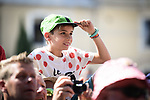 Young fan at sign on before the start of Stage 16 of the 2018 Tour de France running 218km from Carcassonne to Bagneres-de-Luchon, France. 24th July 2018. <br /> Picture: ASO/Pauline Ballet | Cyclefile<br /> All photos usage must carry mandatory copyright credit (© Cyclefile | ASO/Pauline Ballet)