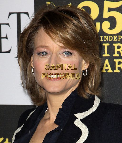 JODIE FOSTER .25th Annual Film Independent Spirit Awards held At The Nokia LA Live, Los Angeles, California, USA,.March 5th, 2010 ..arrivals Indie Spirit portrait headshot smiling make-up hoop silver earrings navy  blue  white trim .CAP/ADM/KB.©Kevan Brooks/Admedia/Capital Pictures