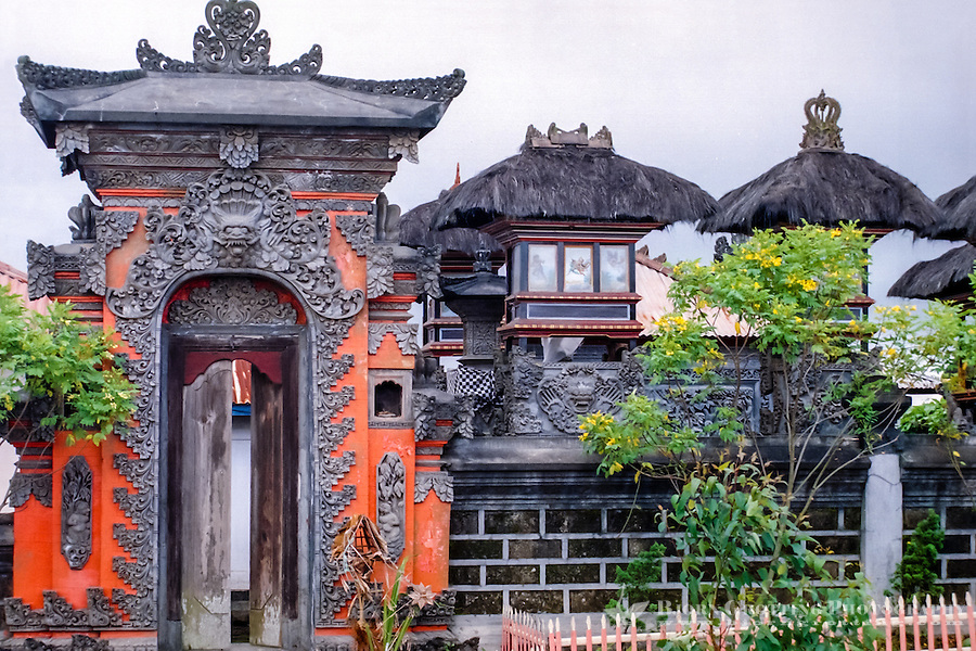 Bali, Bangli, Kintamani. Kintamani is a location on the western edge of the larger caldera wall of Gunung Batur. Hindu Temple.