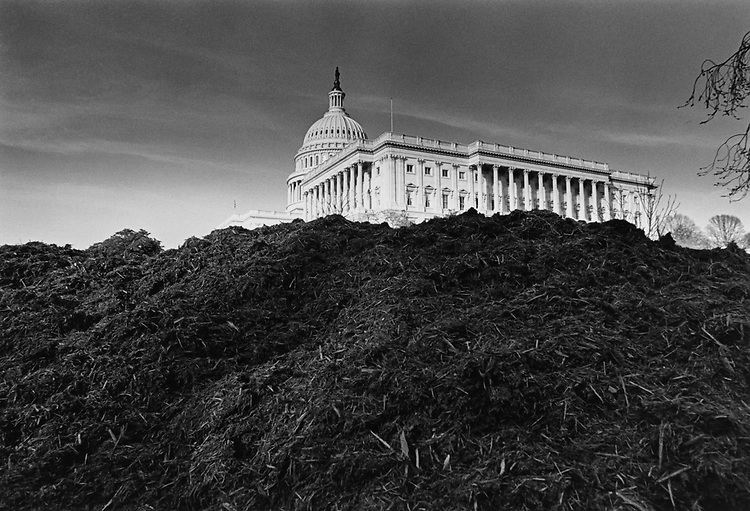 Dirt pile up, west front of the Capitol Hill, tractors regarding lawn due to inaugural ceremony on Feb. 24, 1997. (Photo by Laura Patterson/CQ Roll Call via Getty Images)