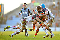 Gareth Steenson of Exeter Chiefs is double-tackled. European Rugby Champions Cup match, between Exeter Chiefs and the Ospreys on January 24, 2016 at Sandy Park in Exeter, England. Photo by: Patrick Khachfe / JMP