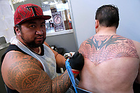 Jason Teitinga the only artist from Cook Islands<br /> Roma 05/05/2017. Palazzo delle Esposizioni. International Tattoo Expo 2017. La manifestazione accoglie alcuni tra i più' grandi tatuatori provenienti da tutto il mondo.<br /> Rome May 5th 2017. International Tattoo Expo 2017. The meeting gathers some of the most famous tattoo artists from all over the world.<br /> Foto Samantha Zucchi Insidefoto
