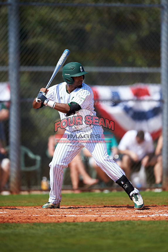 Eastern Michigan Eagles shortstop Marquise Gill (4) at bat during a game against the Dartmouth Big Green on February 25, 2017 at North Charlotte Regional Park in Port Charlotte, Florida.  Dartmouth defeated Eastern Michigan 8-4.  (Mike Janes/Four Seam Images)