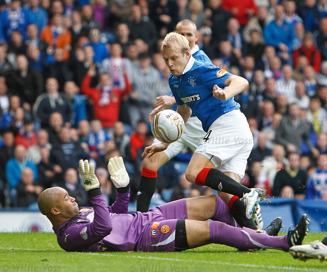 Steven Naismith dinks the ball over the onrushing goalkeeper Darren Randolph to score and equaliase for Rangers