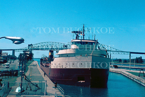M/V Reserve, moves through the Soo Locks, in Sault Ste Marie, Michigan.