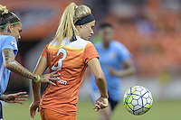 Houston, TX - Friday April 29, 2016: Rachel Daly (3) of the Houston Dash gains control of a loose ball in front of Tasha Kai (32) of Sky Blue FC at BBVA Compass Stadium. The Houston Dash tied Sky Blue FC 0-0.