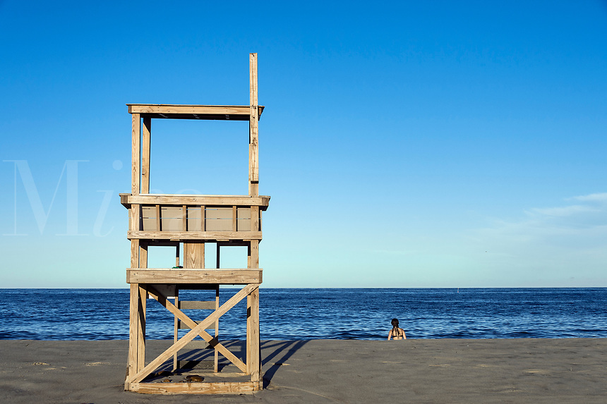 Lifeguard stand, Nauset Beach, Orleans, , Cape Cod, Massachusetts, USA.