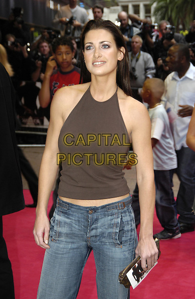 KIRSTY GALLACHER - KIRSTY GALLAGHER.Charlie's Angels: Full Throttle premiere, Leicester Square.www.capitalpictures.com.sales@capitalpictures.com.©Capital Pictures.charlies angels, brown halterneck top