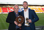 St Johnstone Player of the Year Awards 2014-15.....16.05.15<br /> Peter Ogilvie presents the We Are Perth Exiles Player of the Year Award to Alan Mannus<br /> Picture by Graeme Hart.<br /> Copyright Perthshire Picture Agency<br /> Tel: 01738 623350  Mobile: 07990 594431
