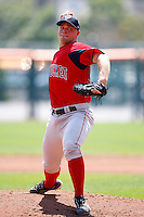 July 30, 2009:  Pitcher Michael Bowden of the Pawtucket Red Sox delivers a pitch during a game at Coca-Cola Field in Buffalo, NY.  Pawtucket is the International League Triple-A affiliate of the Boston Red Sox.  Photo By Mike Janes/Four Seam Images