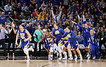 SIOUX FALLS, SD - MARCH 8:  The South Dakota State University bench explodes as the final buzzer sounds in their 61-55 win over the University of South Dakota in the 2016 Summit League Championship Game Tuesday afternoon in Sioux Falls. (Photo by Dave Eggen/Inertia)