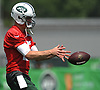 Josh McCown #15, New York Jets quarterback, takes a snap during team practice at the Atlantic Health Jets Training Center in Florham Park, NJ on Saturday, July 28, 2018.