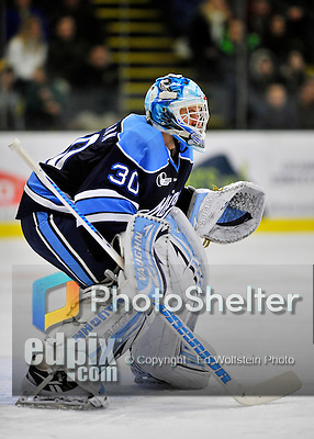 3 December 2011: University of Maine Black Bear goaltender Dan Sullivan, a Sophomore from York, PA, in second period action against the University of Vermont Catamounts at Gutterson Fieldhouse in Burlington, Vermont. The Catamounts fell to the Black Bears 5-2 in the second game of their 2-game Hockey East weekend series. Mandatory Credit: Ed Wolfstein Photo