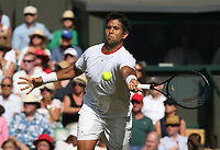 Fernando Verdasco (ESP) during his match against Kyle Edmund (GBR) in their Gentleman's Singles Second Round match<br /> <br /> Photographer Rob Newell/CameraSport<br /> <br /> Wimbledon Lawn Tennis Championships - Day 3 - Wednesday 3rd July 2019 -  All England Lawn Tennis and Croquet Club - Wimbledon - London - England<br /> <br /> World Copyright © 2019 CameraSport. All rights reserved. 43 Linden Ave. Countesthorpe. Leicester. England. LE8 5PG - Tel: +44 (0) 116 277 4147 - admin@camerasport.com - www.camerasport.com