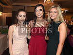 Paula Brannigan, Sarah Moore and Grace Healy at St. Fechins GFC 75th anniversary dinner in the Westcourt Hotel. Photo:Colin Bell/pressphotos.ie