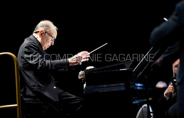 Italian composer Ennio Morricone conducting his 60 Years Of Music World Tour concert in the Sportpaleis, Antwerp (Belgium, 20/02/2016)