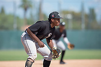 Chicago White Sox third baseman Bryce Bush (24) during an Instructional League game against the Oakland Athletics at Lew Wolff Training Complex on October 5, 2018 in Mesa, Arizona. (Zachary Lucy/Four Seam Images)