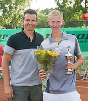 August 9, 2014, Netherlands, Rotterdam, TV Victoria, Tennis, National Junior Championships, NJK,  Prize giving, Richard Krajicek with Stephan Gerritsen , runner up boys 18 years<br /> Photo: Tennisimages/Henk Koster