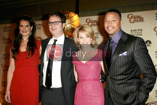 Brooke Shields and Rainn Wilson with Elizabeth Banks and Terrence Howard <br /> at the 66th Annual Golden Globe Awards Nomination Announcement Press Conference. Beverly Hilton Hotel, Beverly Hills, CA. 12-11-08<br /> Dave Edwards/DailyCeleb.com 818-249-4998