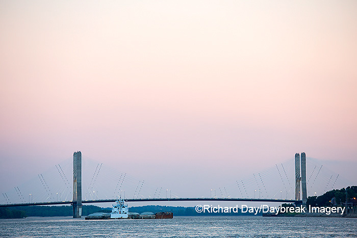 65095-02511 Barge on Mississippi River and Bill Emerson Memorial Bridge Cape Girardeau, MO