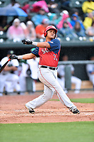 Northern Division first baseman Aldrem Corredor (30) of the Hagerstown Suns swings at a pitch during the South Atlantic League All Star Game at Spirit Communications Park on June 20, 2017 in Columbia, South Carolina. The game ended in a tie 3-3 after seven innings. (Tony Farlow/Four Seam Images)