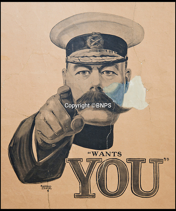 BNPS.co.uk (01202 558833)<br /> Pic: RachelAdams/BNPS<br /> <br /> The only surviving 'Lord Kitchener Wants You' First World War recruiting poster in public hands has sold for almost 30,000 pounds - a world record for a WWI poster.<br /> <br /> The incredibly rare poster was responsible for the enlistment of millions of men and has since become one of the iconic images of the war.<br /> <br /> But despite its success and popularity, it was not produced on the same scale as other recruiting posters - and only three originals survived.<br /> <br /> The other two are in the Imperial War Museum in London and the National Gallery of Victoria in Melbourne, Australia, meaning this poster was the only one in the world that could be bought.<br /> <br /> Experts had tipped it to fetch 15,000 pounds but were shocked when it went for almost double that, setting a new world record for the sale of a First World War poster.<br /> <br /> It was snapped up by a London-based collector for 27,540 pounds in an online sale by Dorset-based auction house Onslows.