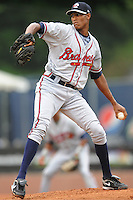 Rome Braves starting pitcher Ronan Pacheco #32 delivers a pitch during a game against the Asheville Tourists at McCormick Field on June 23, 2011 in Asheville, North Carolina.  The Tourists won the game 10-4.  (Tony Farlow/Four Seam Images)